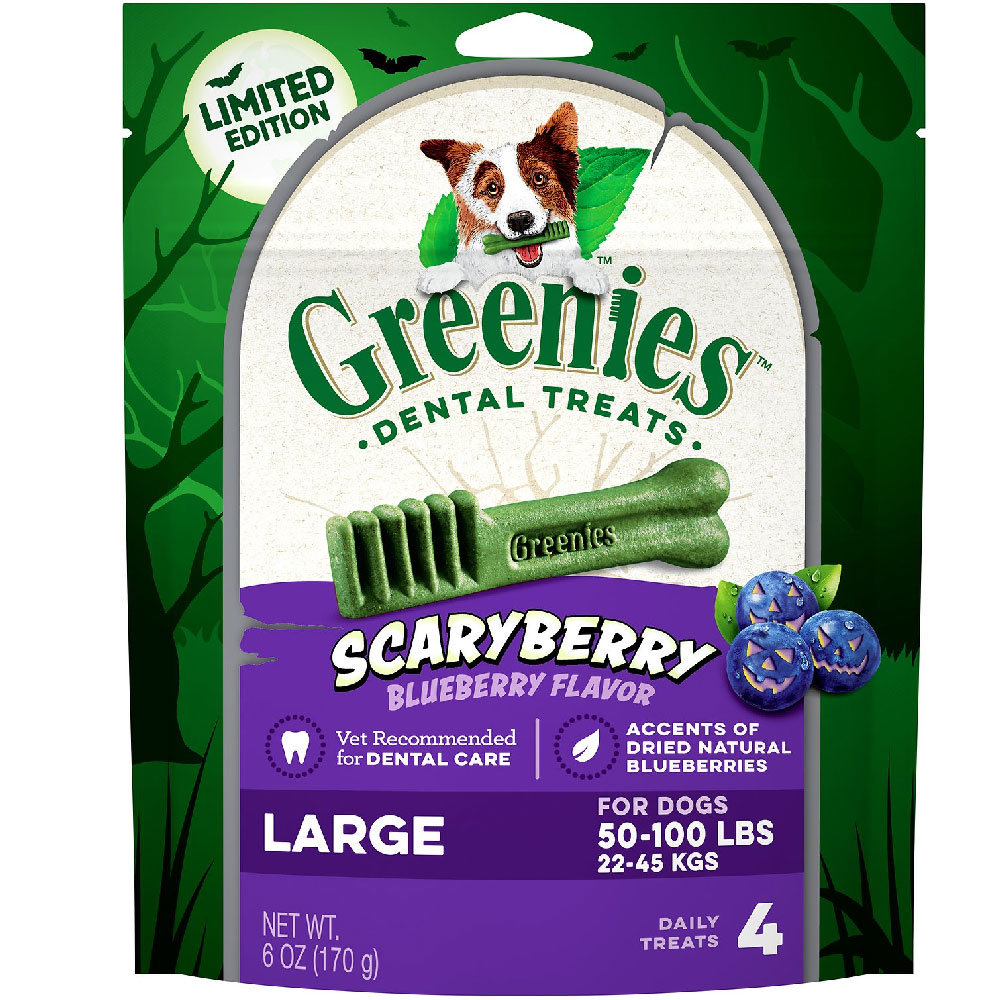 Greenies Scary Berry Blueberry Flavor Large 6oz (4 Bones)