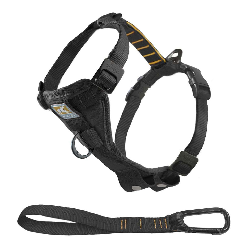 Kurgo Tru-Fit Smart Harness Quick Release with Seatbelt Tether (Large) - Black