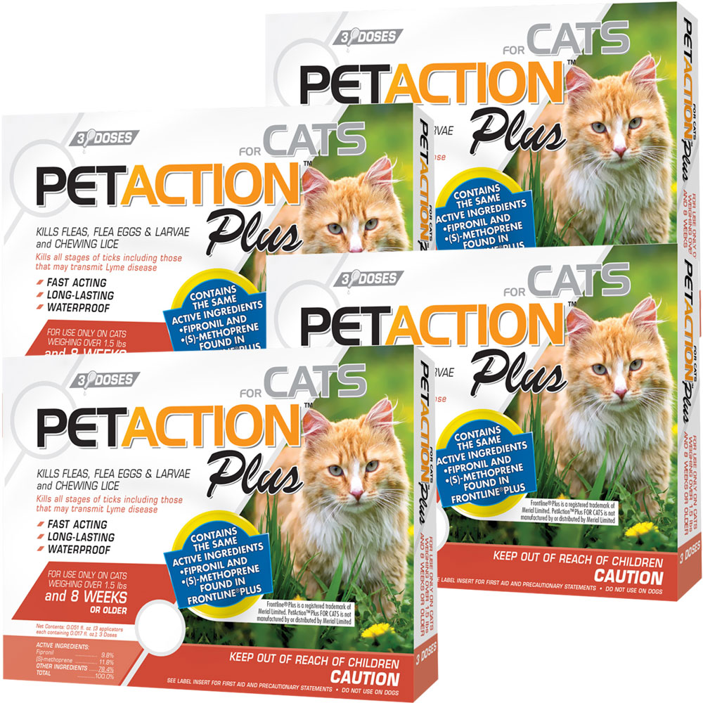 PetAction Plus Flea & Tick Treatment for Cats - 12 MONTH