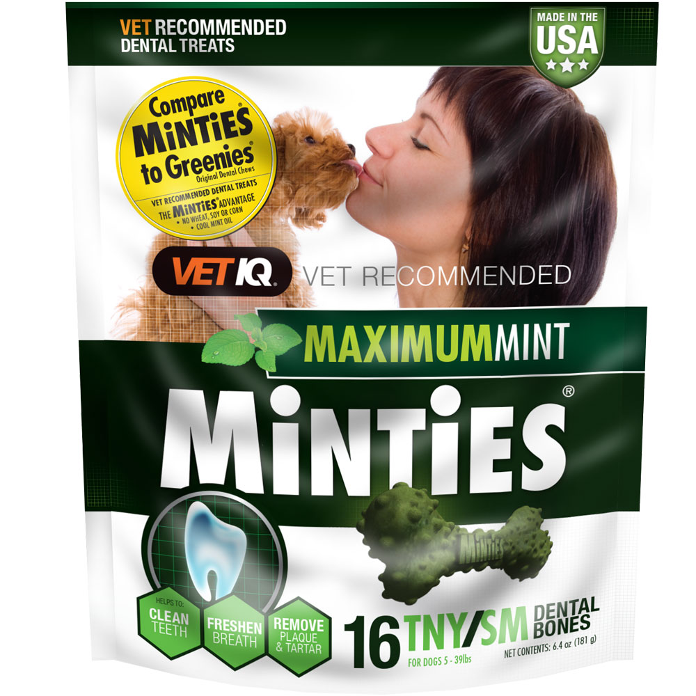 VetIQ Minties Dental Treats - Tiny/Small 6.4oz (16 Bones)