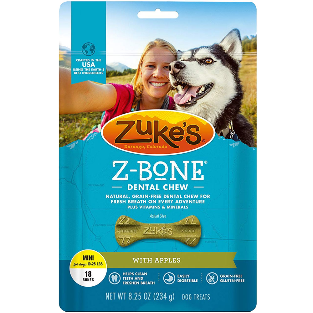 Zukes Z-Bones Dental Chews Apple Crisp - Mini 9oz (18 count)
